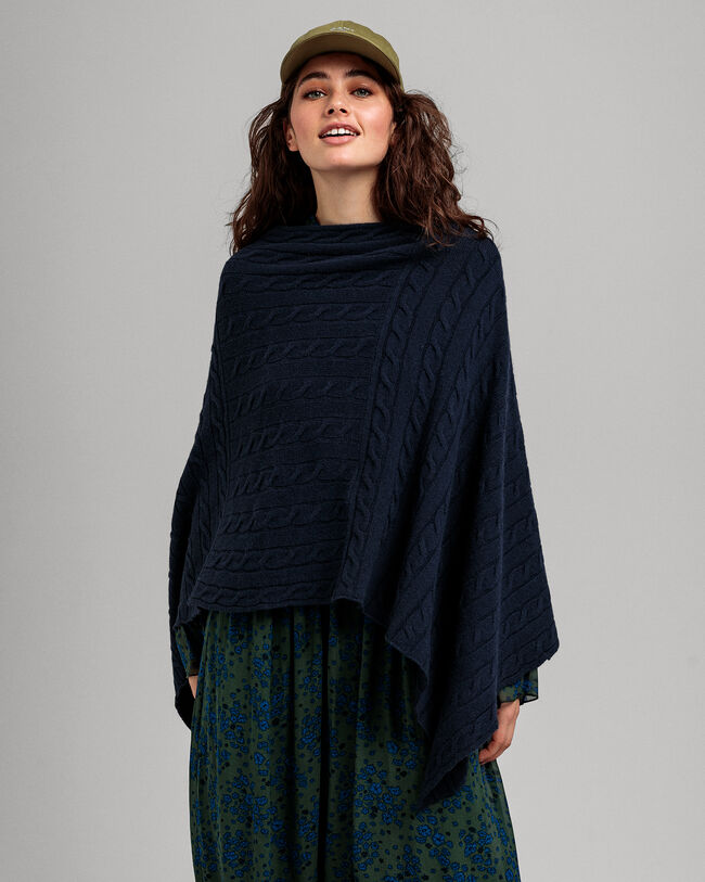 Lambswool Poncho mit Zopfmuster