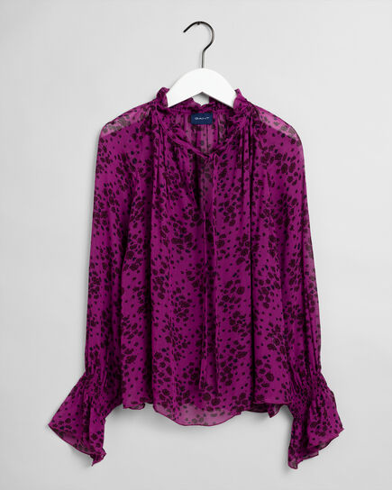 Fall Flower Crinkle Bluse