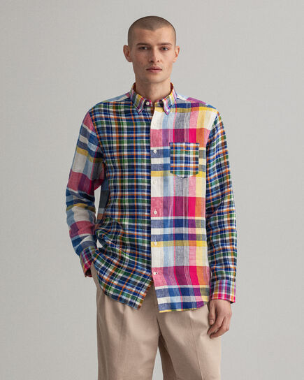 Regular Fit Leinen Hemd mit Madras-Mix