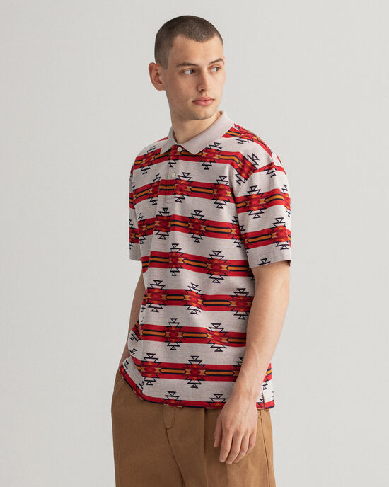 Relaxed Fit Geometric Kurzarm Rugger