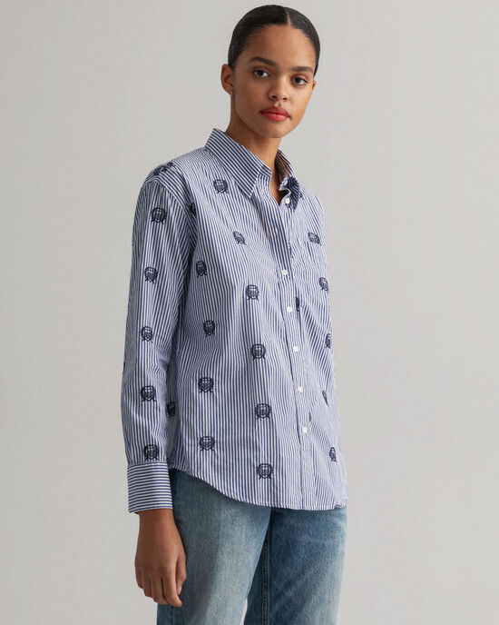 Stripe Crest Relaxed Fit Bluse