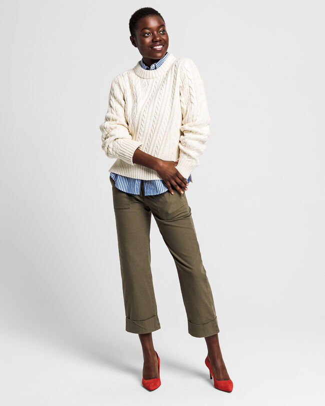 Twisted & Mixed Cable Crew Sweater