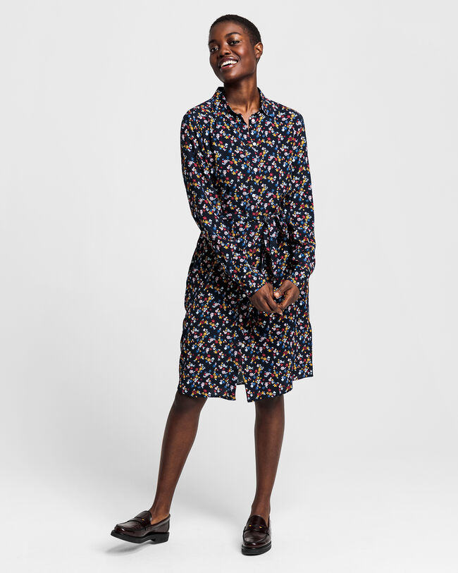 Scribbled Floral Shirt Dress