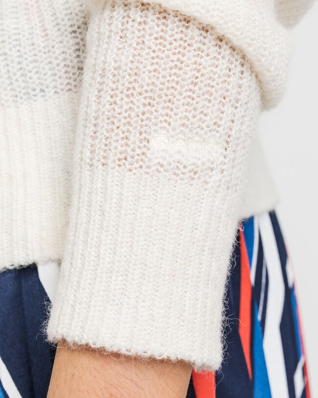 Ribbed Wool Blend Crew Sweater