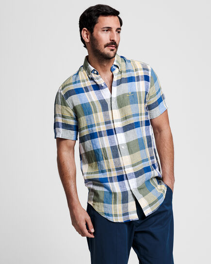 Regular Fit Madras Leinen Kurzarm Hemd