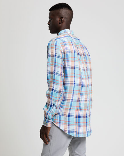 Regular Fit Madras Leinen Hemd