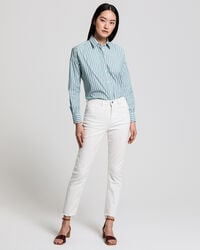 Bestickte High Waisted Cropped Jeans