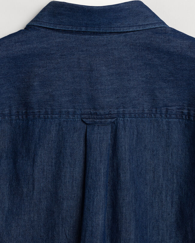 Contrast Chambray Bluse