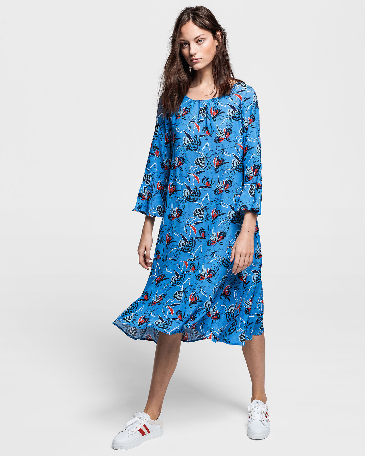 Floral Fly Fishing Ruffle Dress