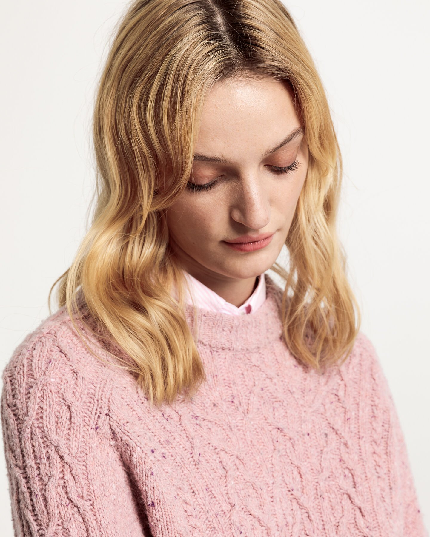 Cable Neps Crew Sweater