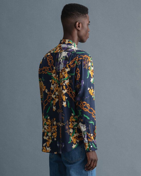 Relaxed Fit Chain Print Lyocell Hemd