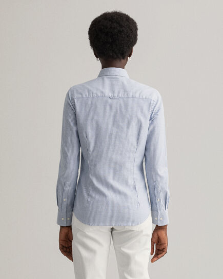Stretch Oxford-Bluse mit Bankerstreifen