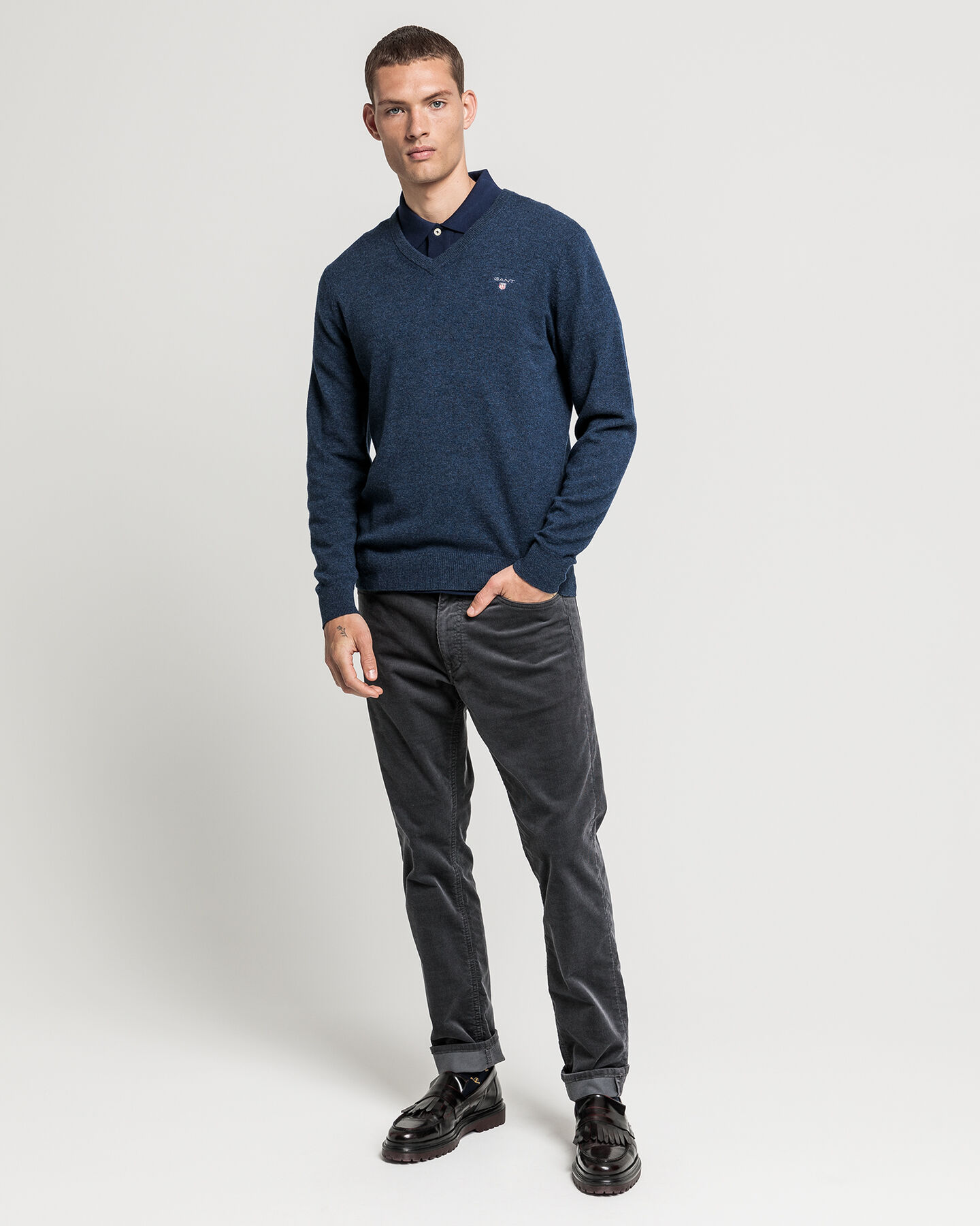 V-Neck Pullover aus Super Fine Lambswool